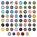 Craftdady 100Pcs Mosaic Printed Glass Flat Back Half Round Cabochons 25mm (1') Random Mixed Colors Flower Photo Mosaic Tiles Dome Cabs