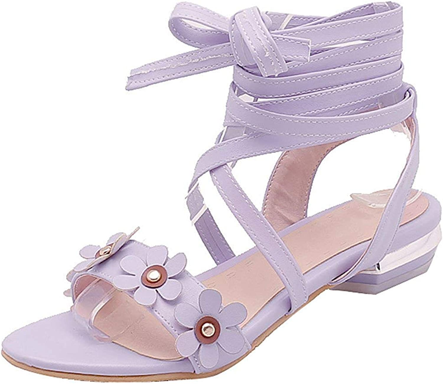 Wallhewb Women's Sweet Studded Flowers Sandals - Open Toe Solid color Strappy - Self Tie Block Low Heel Gladiators shoes No Grinding Feet Breathable Comfortable Leather Short White 8 M US Sandals