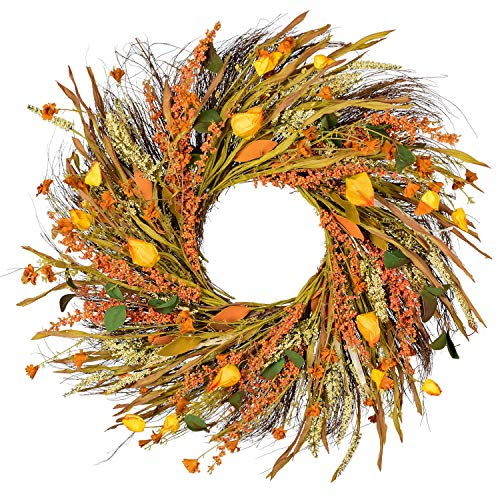 Wofair Artificial Wheatear Wreath. for Front Door, Porch, House Wall, Wedding, and Thanksgiving Party Decoration. Outer Diameter 22 Inch, Autumn Suits Best.