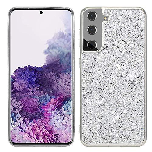 Carcasa de silicona para Samsung Galaxy S21 Ultra Paillette Slim Soft TPU Bumper Skin Cover Goma Sparkle Gel a prueba de golpes para mujeres y niñas Carcasa trasera Galaxy S21 Ultra Silver