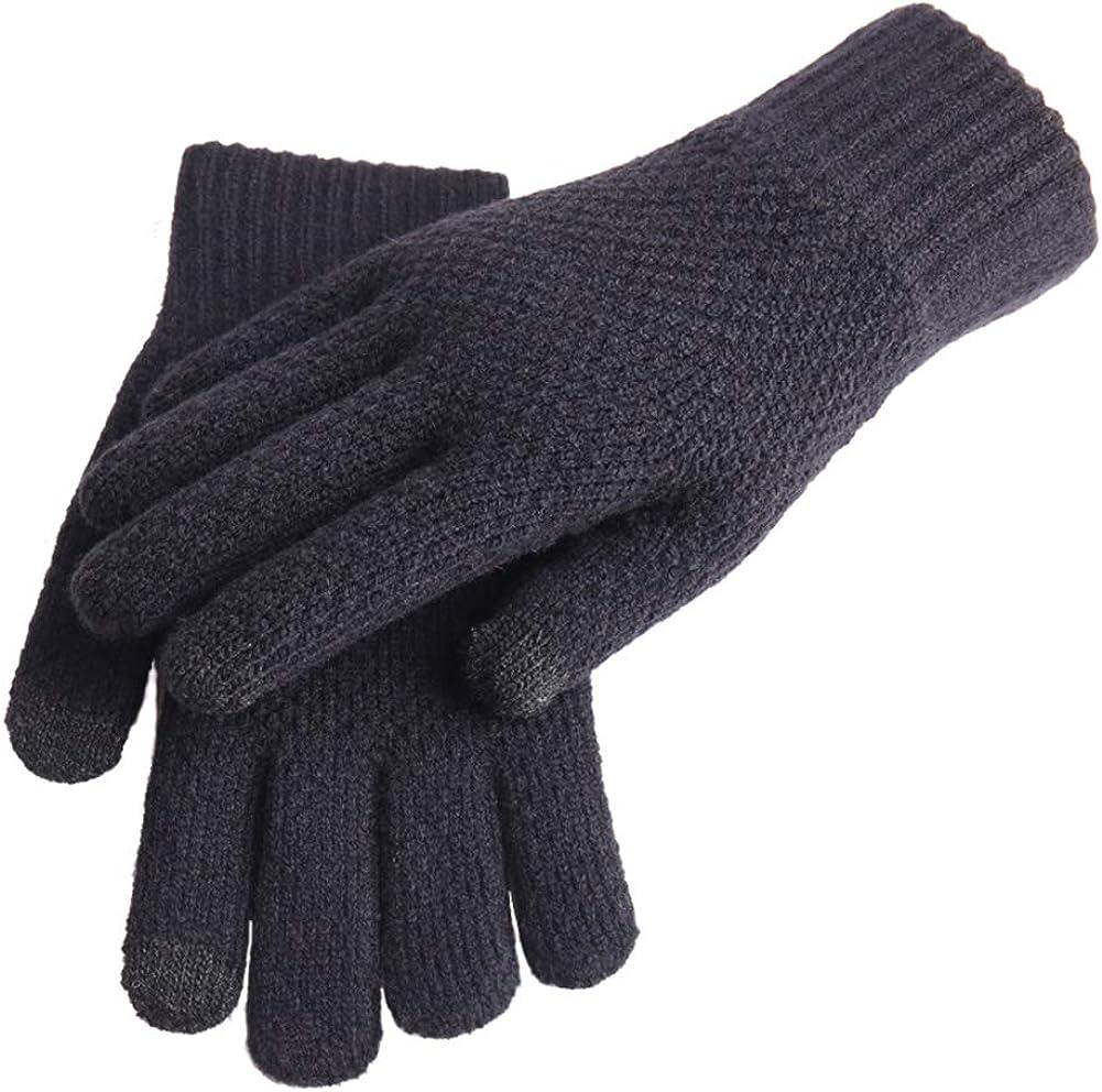 Tennessee526 Unisex Winter Warm Gloves Men Thicken Winter Knitted Woolen Gloves Warm Full Finger Touch Screen Mittens
