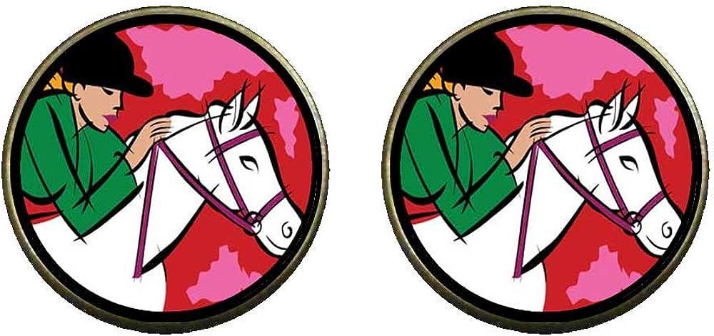 GiftJewelryShop Bronze Retro Style Hobbies Ride Horse Photo Clip On Earrings 16mm Diameter