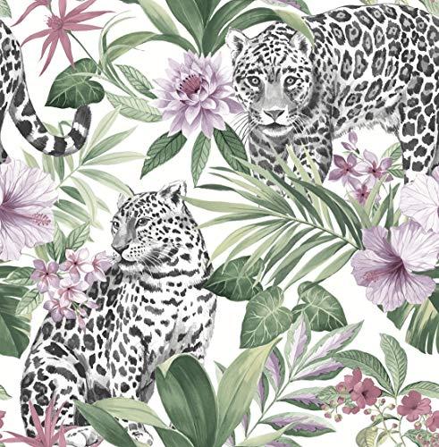 Fine Décor FD42470 Uk Tropica Leopard Pastel Tapete, Mehrfarbig