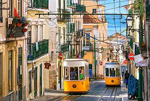 Puzzle 6000 pièces de puzzles impossibles Jeu de mise en page coloré Tramway de Lisbonne Jeu de puzzle détente Casse-tête