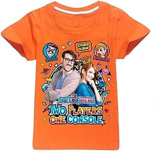 Dgfstm Two Players One Console T-Shirt a Maniche Corte in Cotone Tinta Unita Universale Estiva per Bambini e Ragazzi