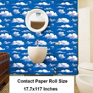 GLOW4U Blue Sky Clouds Pattern Contact Paper Self Adhersive Vinyl Removable Wallpaper Kitchen Backsplash Accent Wall Art Crafts Decor 17.7x117 Inch