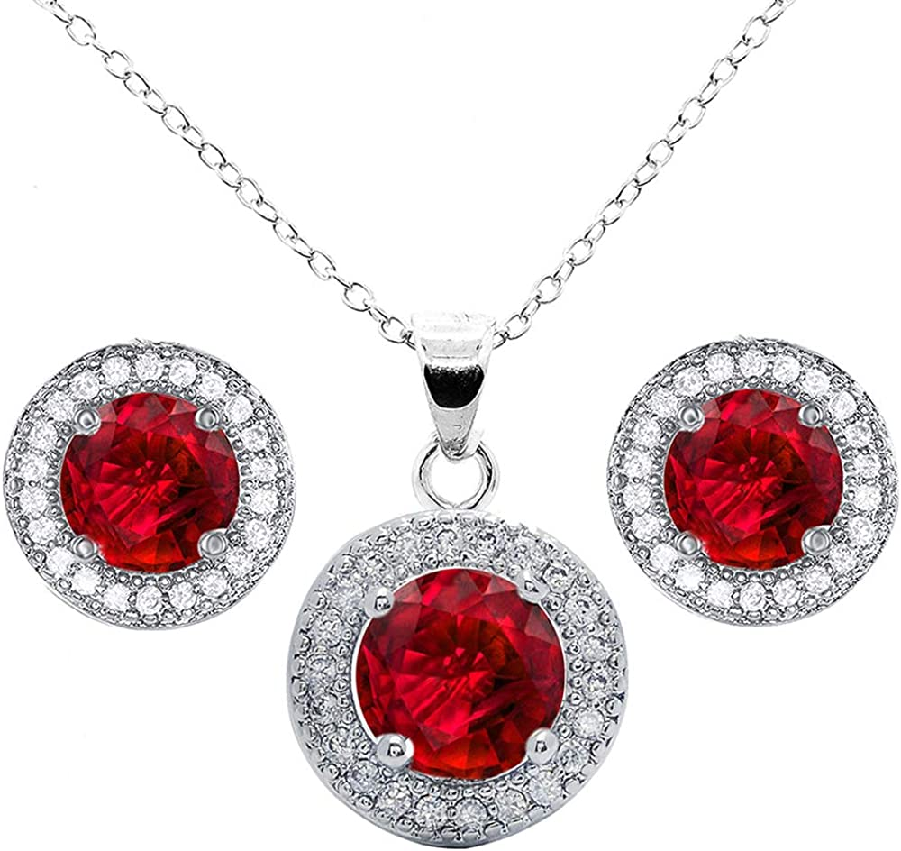 Cate & Chloe Mariah Jewelry Set, 18k White Gold Gemstone Pendant Necklace and Stud Earrings, Bridal Jewelry Set, Necklace Earring Set for Women, Rhinestone Jewelry Set