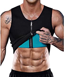 Festnight Men Waist Trainer Vest Neoprene Body Shaper Zipper Tank Top Workout Slimming Vset