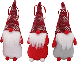 PartyTalk 3pcs Handmade Swedish Tomte Christmas Gnome, Scandinavian Santa Gnome Christmas Ornaments for Home Holiday Christmas Hanging Decorations Xmas Gifts