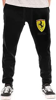 SHENGN Men Design Ferrari Logo New with Pockets Comfortable Sweatpant Black