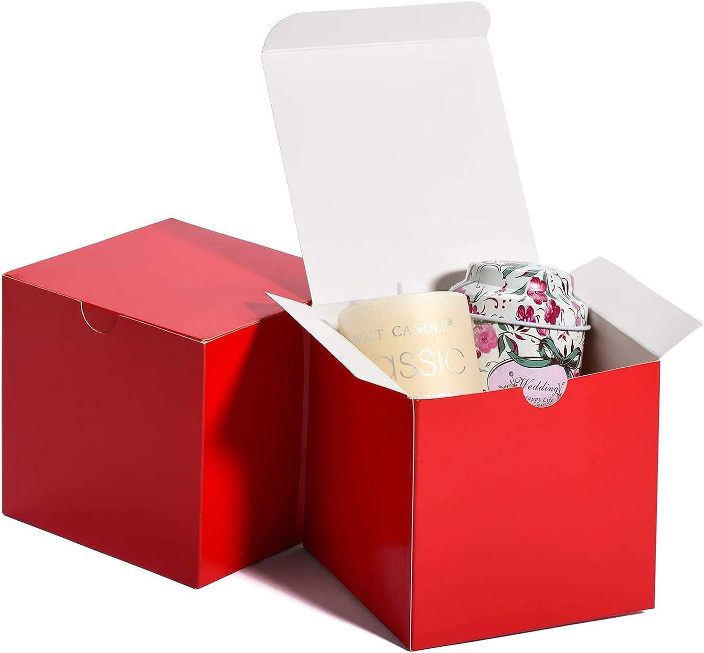 MESHA Red Gift Boxes 4x4x4 Square Gift Box w/Lid, 50 Pcs, Bridesmaid Proposal Gift Box, Cupcake Boxes, Godmother, Groomsmen Proposal Gift Box, Birthday Gift Box, Party/Wedding Favors, DIY Crafting