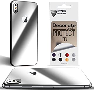 IPG for iPhone Xs MAX Decorative Carbon Fiber Vinyl Back Protector Anti Scratch Skin Guard - 3D Surface - Bubble -Free Easy to Install (Silver Chrome)