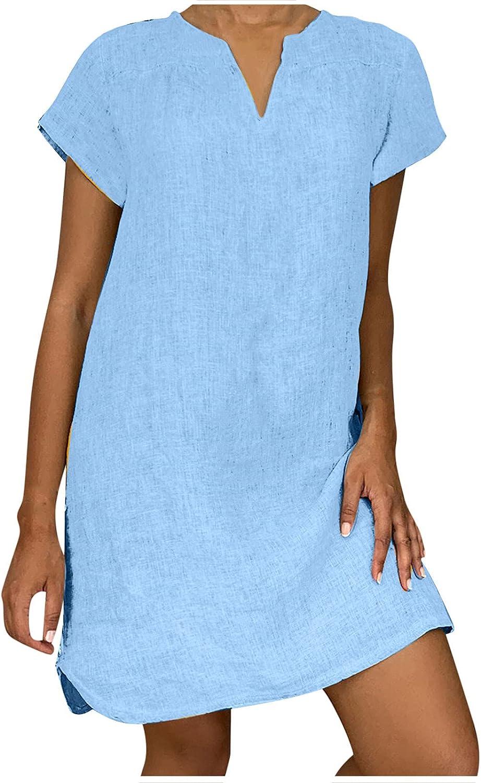 Zainafacai Summer Dresses Women's Casual Cotton Linen Dress Plus Size Solid Beach Dress Short Sleeve Tunic Dress