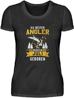 """Camiseta de manga corta para mujer con texto en alemán """"Juli Angler Geburtstag"""""""
