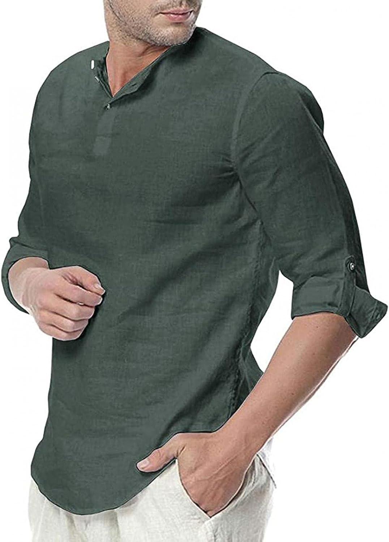 Mens Cotton Linen Henley Shirts V-Neck Roll Long Sleeve Hippie Casual Beach Yoga T-Shirts Vintage Band Collar Plain Tee
