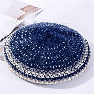 KCBYSS Winter Women's Style Wool Knitted Hats Women Fashion Warm Painter Hat Female Beanies Cap (Color : Navy)