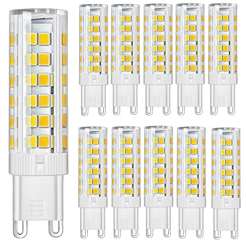 KitaBulb G9 7W LED Lampen, 75 x 2835 SMD, 550 Lumen, Ersatz für 60W Halogenlampen, 220-240V AC, Warmweiß, 360° Abstrahlwinkel, LED Birnen, LED Leuchtmittel, 10er Pack