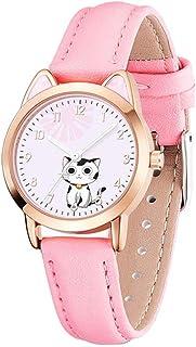 VILLCASE Relógios Luminosos para Crianças Orelha de Gato Meninas Relógio de Pulso Cartoon Quartzo Analógico Alunos Relógio...