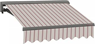 ADVANING Electric Classic C Series, 16`x10`, Semi-Cassette Window/Door Canopy Sun Shade Patio Retractable Awning, Natural Beige with Brick Red Stripes, Model: EA1610-A332H