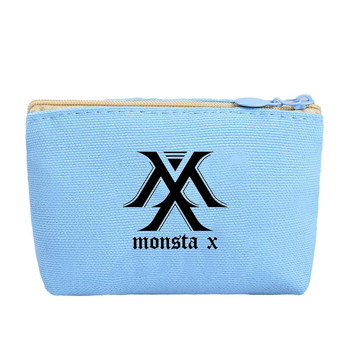 Youyouchard Kpop GOT7 MONSTA X SEVENTEEN Canvas Pencil Case Stationery Bag Pencil Box Coin Bag Cosmetic Bag Charm Zipper Pouch Wallet K-Pop Fans Bags(MONSTA X(blue))