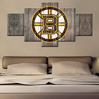 Black and Yellow Painting Canvas National Hockey League Wall Art Decor Living Room The Logo of Boston Bruins Poster and Prints Wooden Look Artwork Framed Gallery-wrapped Ready to Hang(60Wx32H inches)