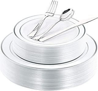 WDF 40Guest Silver Plastic Plates with Disposable Plastic Silverware- Plastic Tableware sets include 40 Dinner Plates, 40 Salad Plates,40 Forks, 40 Knives, 40 Spoons
