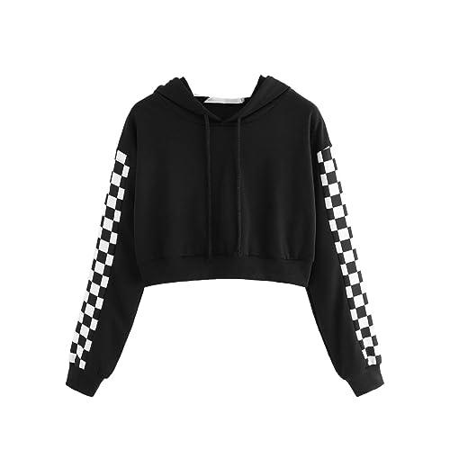 Rough Checkers Womens Sports Long Sleeve Crop Hoodie Sweatshirt Top Pullover Hooded Sweatshirt