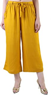 3be99a87bfd69 Khazana Basics Mustard Color Rayon Culottes Pants, Capri, Short Trouser for  Women, Girls