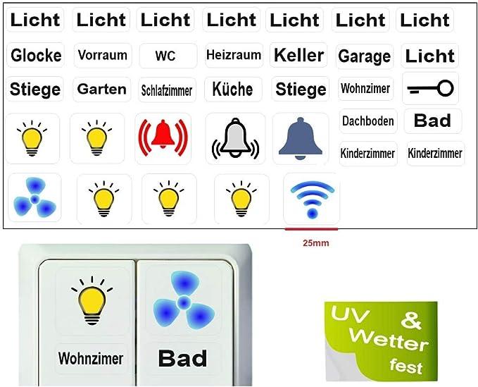 Generisch 35 Stück Schalter Aufkleber Set Licht Schalteraufkleber Schalter Sticker R15 2 35mm Große Aufkleber Auto