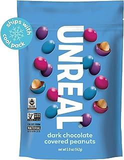 UNREAL Dark Chocolate Peanut Gems | Non-GMO, Vegan Certified, Colors from Nature | 6 Bags