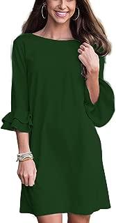 Women's Summer Ruffle Sleeve Tunic Swing Dresses Loose Mini Dresses Casual Flowy Shift Dresses