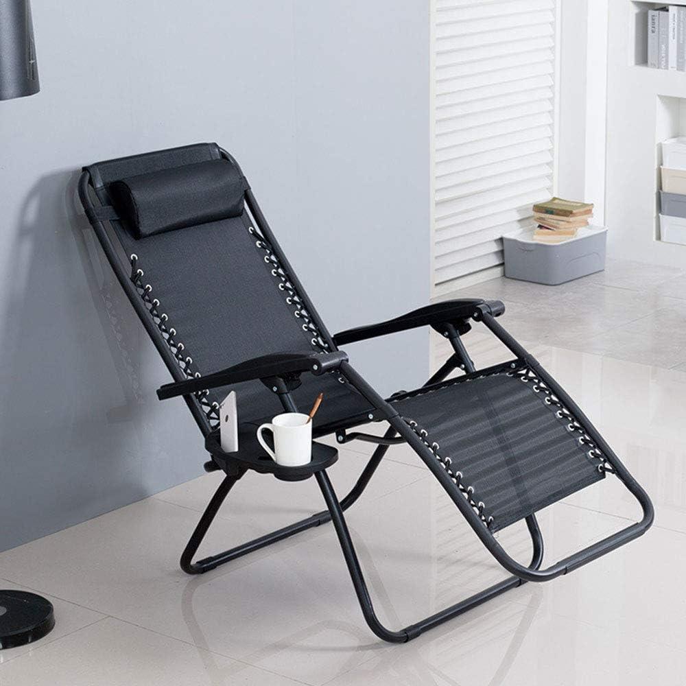 Wghz Chaises Longues de Jardin, Chaise inclinable et inclinable, avec Corde en Latex élastique et verrou Fixe, pour Le Coin Salon du Bureau, Noir Black