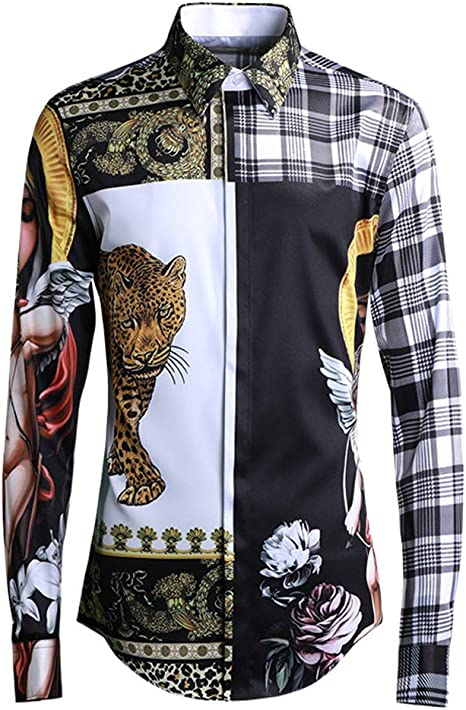 Camisa Estampada de Manga Larga para Hombre, Elegante Camisa ...