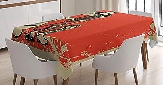 ABAKUHAUS Occidental Nappe, Musique Country Wild West, Linge de Table Rectangulaire pour Salle à Manger Décor de Cuisine, ...