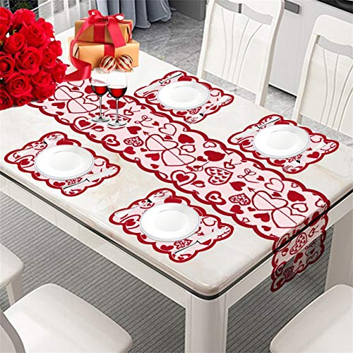 Valentine's Day Decorations Table Runner & Placemats,Set of 5 PCS | 1PC Red Lace Love Heart Table Runner(12 x 70 in) and 4 PCS Lace Table Placemats Decor for Valentine's Day/Wedding Party/Mother's Day