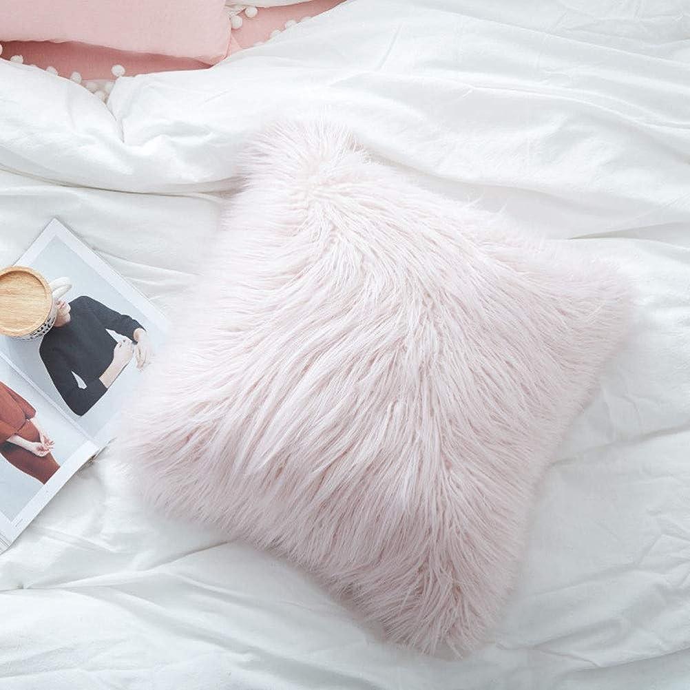 レザーほとんどない惨めな腰枕 純粋な色の甘いビロードの枕王女のビーチウールのクッションのソファーの枕車のウエストの装飾的なクッションの中心 (色 : ピンク, Size : 50*50cm)