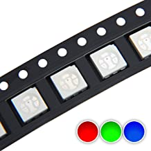 Chanzon 100 pcs 5050 SMD RGB Tricolor LED Diode Lights Chips (Red Green Blue Multicolor Common Anode 6 pin DC 20mA/Color) Super Bright Lighting Bulb Lamps Electronics Components Light Emitting Diodes