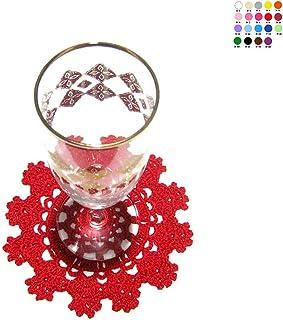 Posavasos rojo de ganchillo para Navidad - Tamaño: ø 13 cm - Handmade - ITALY