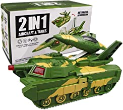Zenghh 2 in 1 Military Aircraft and Tank Deformation Model Bump Action car Toy Flash and Battle Sound 3 to 12 Years Old boy Child