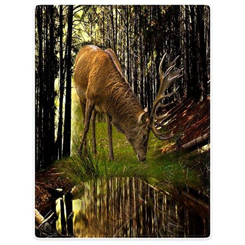 Violetpos Dick Decke Weich Wärme Gemütlich Flanell-Fleece Sofadecke Deckeldecke Tier Hirsch Gras Essen Wald 150 x 200 cm