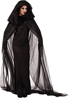 Halloween Black Witch Ghost Death Costumes Hooded Cloak for Women Little Girls