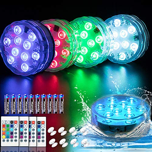 Water Submersible Led Light with Remote Control(with Battery),YMCCOOL Waterproof Bath Lights with 16 Colors Underwater Pool Lights,4 Packs Submersible Led Lights Waterproof for Pool Party,Vase,Pond