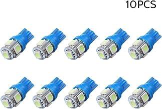 DC12V 1W 5 LED لمبة إضاءة سيارة 10 حزمة T10 قاعدة مقبس حامل ضوء أزرق لشاحنة SUV RV