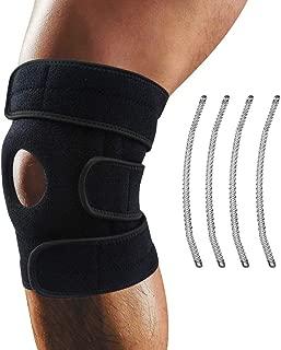 Knee Brace,  Oliomp Relieves ACL,  LCL,  MCL,  Meniscus Tear,  Arthritis,  Tendonitis Pain. Open Patella Dual Stabilizers Non Slip Comfort Neoprene. Adjustable Bi-Directional Straps (Black)