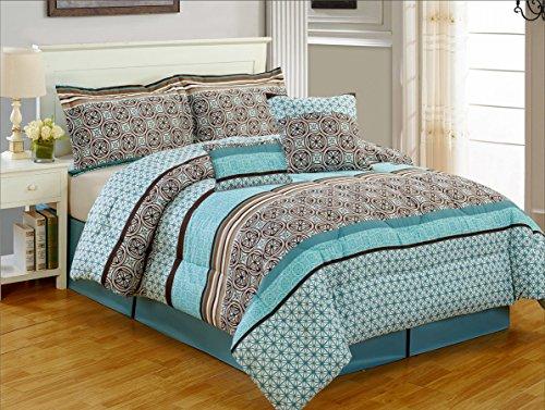 MerchMixer - Home and Office Essentials - Down Alternative Bed in a Bag Comforter Set- 8 Piece - Trellis - Queen