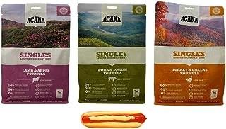ACANA Singles Dry Dog Food Kibble 3 Flavor Sampler with Squeaker Toy Bundle, 1 Each: Lamb Apple, Pork Squash, Turkey Greens (12 Ounces)