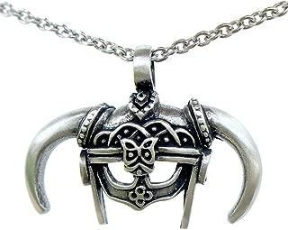 OhDeal4U Dovahkiin Skyrim Iron Helmet Barbarian Pewter Pendant Stainless Steel Necklace