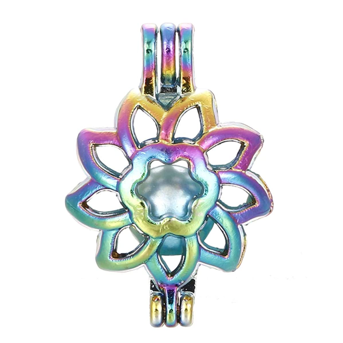 10pcs Rainbow Color Sunflower Pearl Cage Beads Cage Locket Pendant DIY Jewelry Making Accessories-for Oyster Pearls, Essential Oil Diffuser, Fun Gifts (Sunflower)