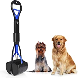 DEGBIT Long Handle Portable Pet Pooper Scooper for Large & Small Dogs, Premium Materials and Professional Ergonomic Design, Foldable Dog Poop Waste Pick Up Rake, Jaw Claw Bin for Grass and Gravel