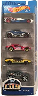 Hot Wheels 2018 City 50th Anniversary 5-Pack ~ RD-10 (Lightning Fast Delivery), Symbolic (Police Car), Drifsta (Racer), La Fasta (Taxi Service) and Drift Tech (Auto Repair)